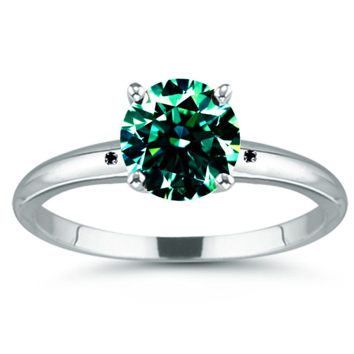 RINGJEWEL Round Moissanite Silver Plated Engagement Ring (Blue Green Color,3.25 Ct,SI1 Clarity,Size 7)