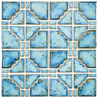 "SomerTile FKOMB21 Moonlight Diva Porcelain Floor and Wall Tile, 11.75"" x 11.75"", Blue"
