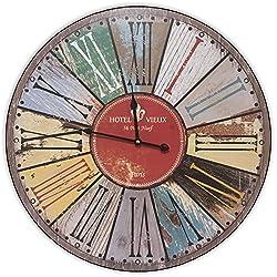 Round Multi Color Decorative Wall Clock With Big Roman Numerals And Distressed Hotel Vieux face 23 x 23 inches Quartz movement …