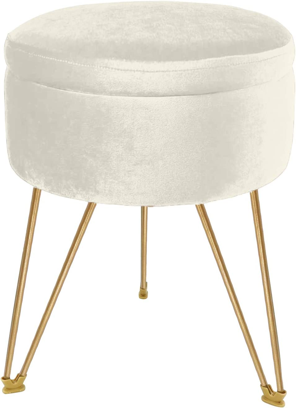 ERONE Storage Round Ottoman Velvet Footrest with Removable Cover Stool,Upholstered Vanity Chair Gold Metal Legs Pouffes Footrest Stool,Beige