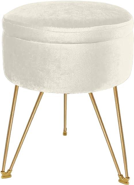 Velvet Storage Ottoman Round Footrest Stool Vanity Seat Decorative Seat Pink