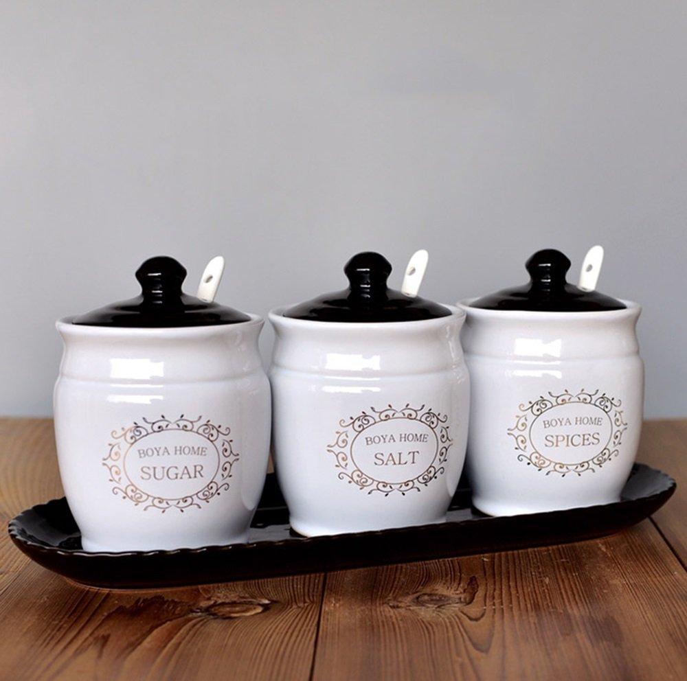 sheng Scatole per condimenti Scatole per condimenti Pentole per sale in ceramica Bottiglie per condimenti europei Set di bottiglie per condimenti contenenti piatto di porcellana con cucchiaio zhanyanfirms