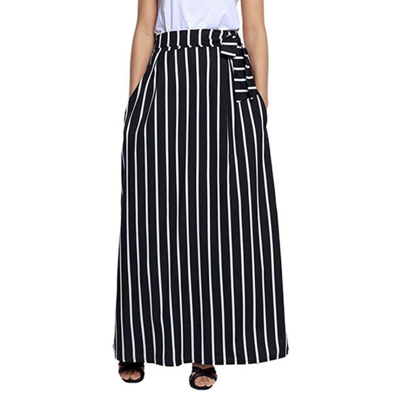 Women Long Skirt Ankola Women Casual Striped Ankle-length Chiffon Lace-Up Vintage Long Skirt (M, Black)