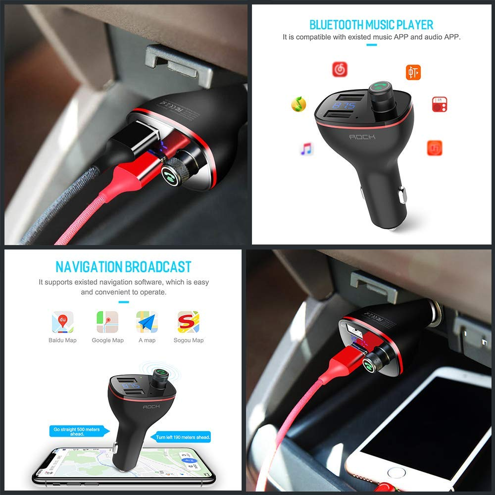 Dual USB Charger for car 3in1 Charging Cable Wireless in-Car FM Music Bluetooth Adapter FM Bluetooth Transmitter Bluetooth Car Kit with Handsfree Calling TechnoHooks All-in-One Charge Cord