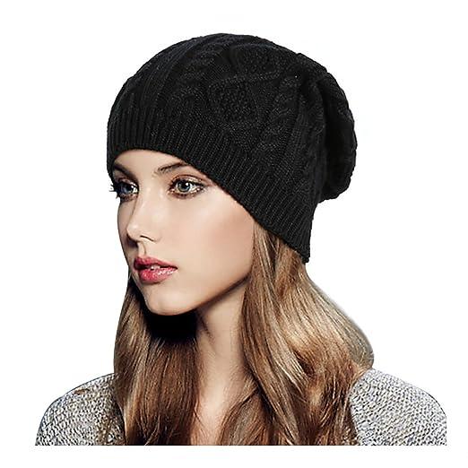 46fbea0e9effc6 Glamorstar Women Cable Knit Beanie Winter Warm Crochet Hats Chunky Stretch  Ski Cap Black
