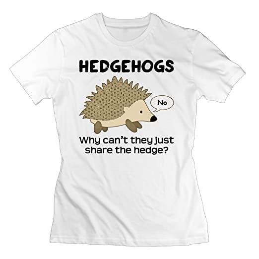 849fe873e WuLion Why Cant Hedgehogs Share The Hedge Women's Comfortable Short Sleeve  T Shirt White S