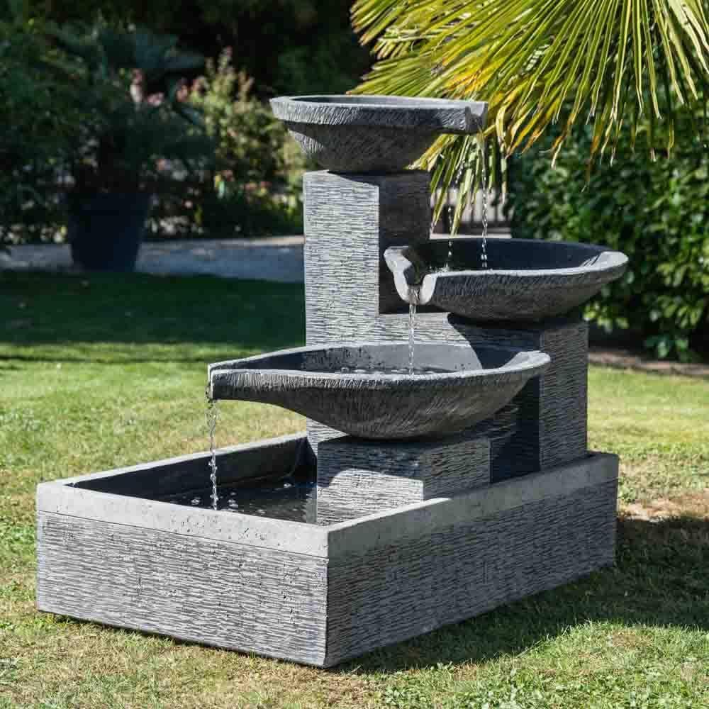 Wanda collection Fuente de jardín desbordante Estanque 3 Pilas Negro Gris: Amazon.es: Jardín