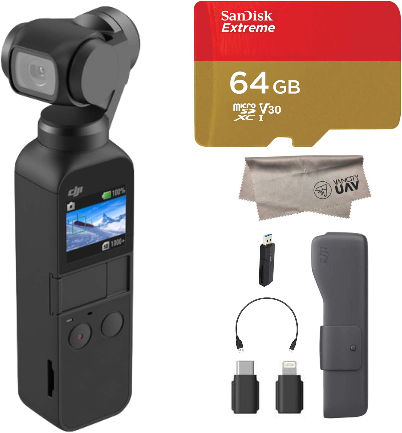 2019 DJI Osmo Pocket Handheld 3 Axis Gimbal with Integrated 4K Camera Bundle, Comes 128GB Extreme Micro SD