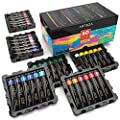 Arteza Acrylic Paint Set, 60 Colors / Tubes (.74 oz.) with Storage Box, Rich, Pigments, Non Fading, Non Toxic for the Professional Artist, Hobby Painters & Kids