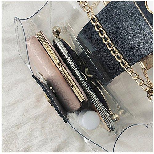 Rrock Jelly Umhängetasche Transparente Kette Tasche Weibliche Fairy Messenger Tasche Black