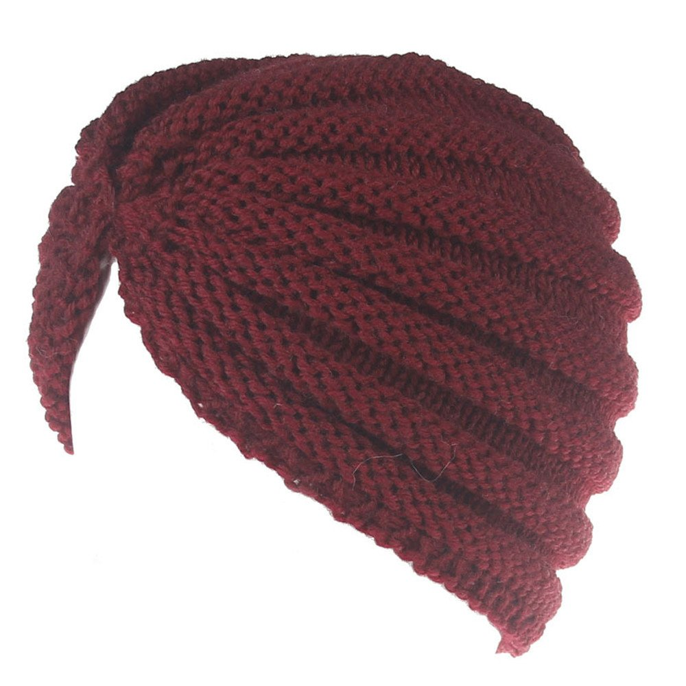 Hattfart Women's Winter Chunky Warm Cable Knit Beanie Hat Winter Warm Skully Cap Soft Stretch (Red)