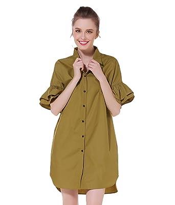 Amazon.com: Vestido de media manga con cuello de plumón para ...