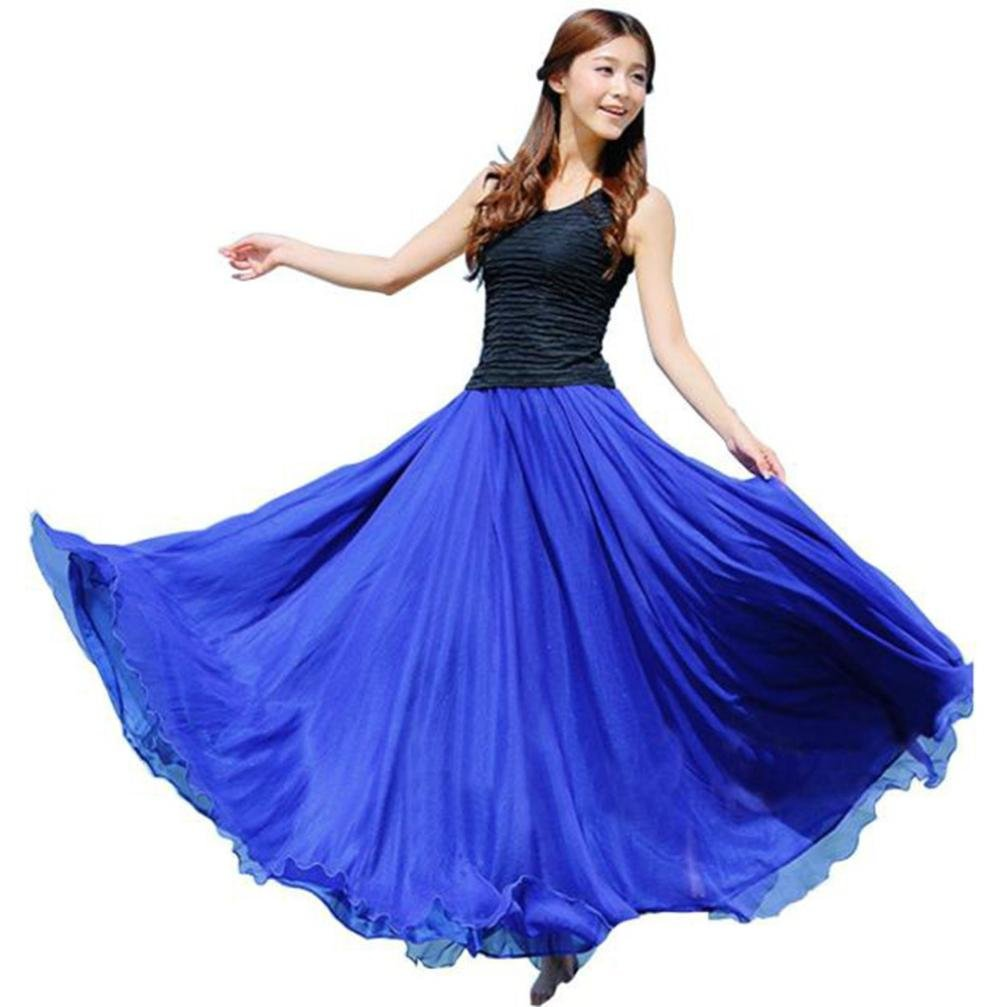 GOTD Women Elastic Waist Chiffon Maxi Skirt Beach Half Long Dress One Fit Size (Blue)
