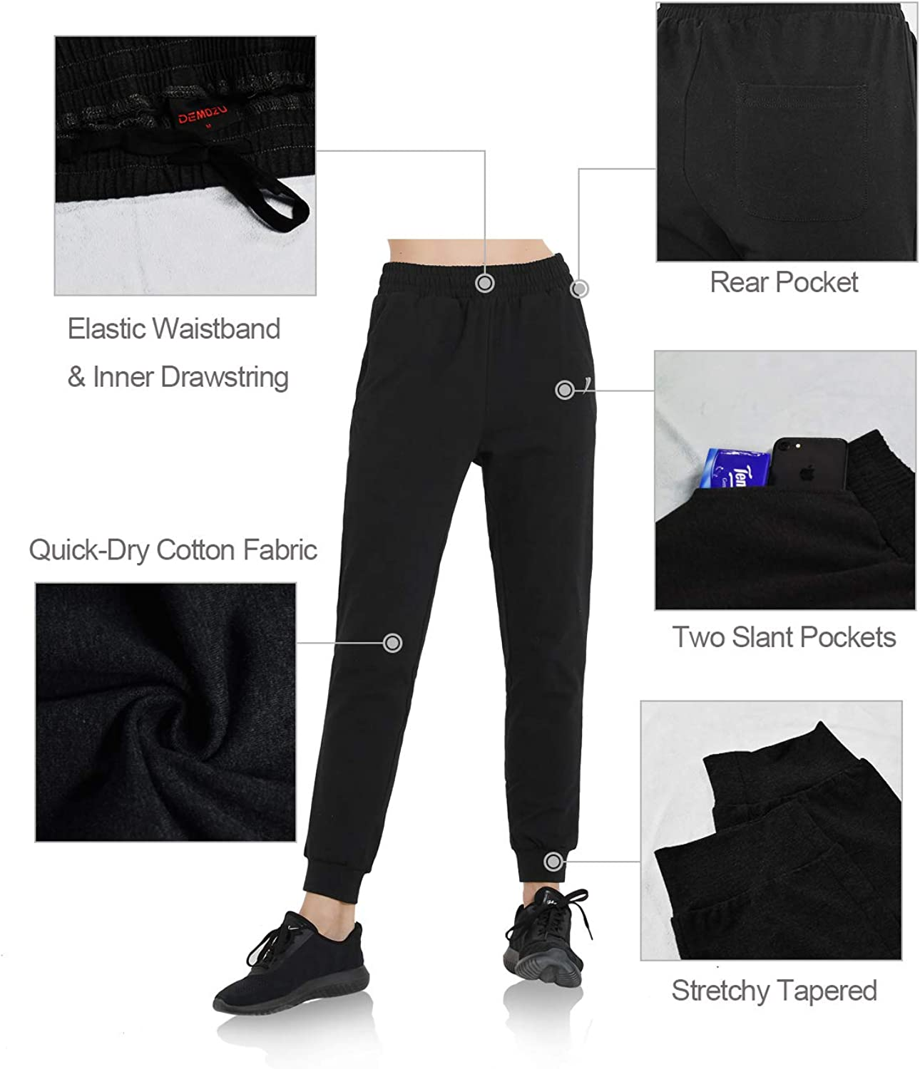 DEMOZU Womens Active Yoga Running Joggers Sweatpants Workout Training Track Lounge Cotton Quick Dry Pants with Pockets