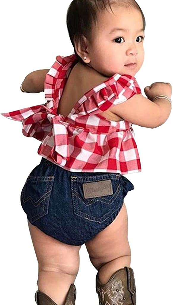 Auwer Hot Sale Baby Girls Plaid Ruffle Bowknot Tank Top+Denim Shorts Outfit with Headband