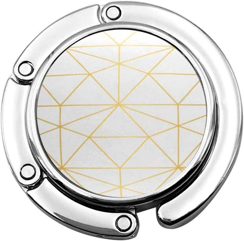 Gancho plegable para bolso, diseño geométrico de rombo y nodos de oro, línea moderna, color blanco