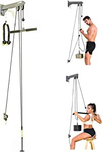 TRENDBOX Pulley System Gym Cable Machine 280LB LAT Pulldown Attachments Chest Expansion Training Exercise and Fitness Home Gyms