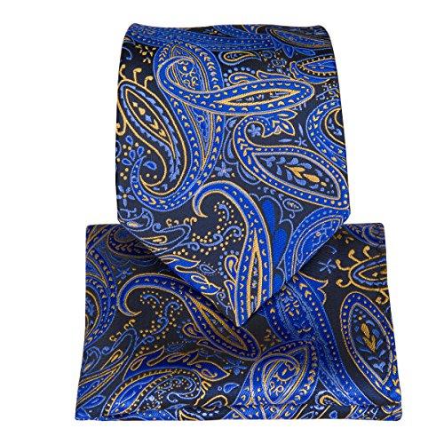 DiBanGu Woven Classic Necktie Blue Men's Yellow Tie Handkerchief Paisley Cufflinks Tie Clip Set rxTq5OwSr