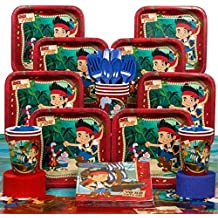 BirthdayExpress Deluxe Jake & The Neverland Pirates Party Supplies Pack Including Plates, Cups, Tablecover Napkins- 16 Guest