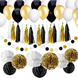 86 pcs Black and Gold Party Decorations Kit SIMPZIA Birthday Party Supplies for Adults 25th, 30th, 40th, 50th, 55th, 60th, 70th & other occasions such as Wedding, Anniversary, Engagement,Baby Shower