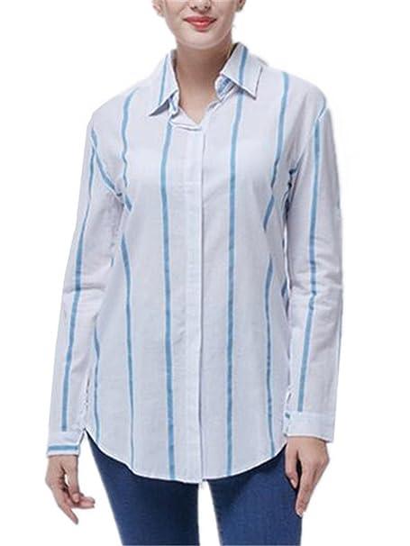 AILIENT Clasicos Camisas A Rayas Mujer Slim Camisetas de Manga Larga Hipster Top Blusa de Moda Casual: Amazon.es: Ropa y accesorios
