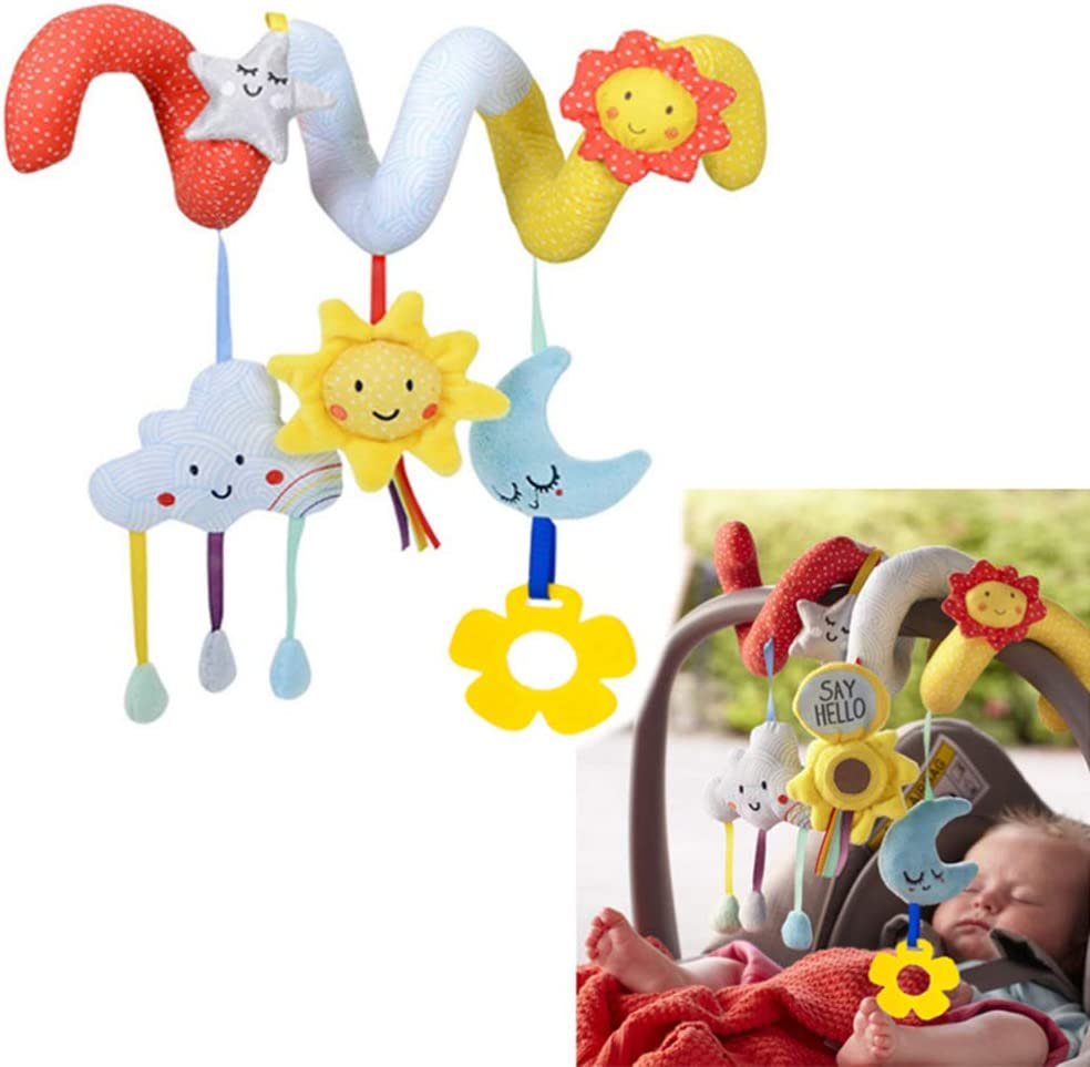 NUOBESTY Baby Activity Spiral Wrap Around Teether Toy Plush Musical Star Moon Hanging Toys Stroller Crib Decorations Bed Stroller Car Seat Supplies