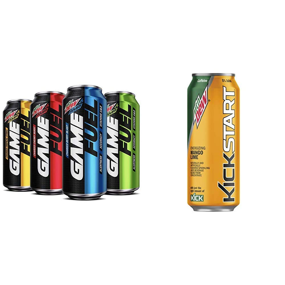 Mountain Dew AMP GAME FUEL, 4 Flavor Variety Pack, 16 fl oz. cans (12 Pack) & Kickstart, Mango Lime, 16 Fl Oz (12 Count)