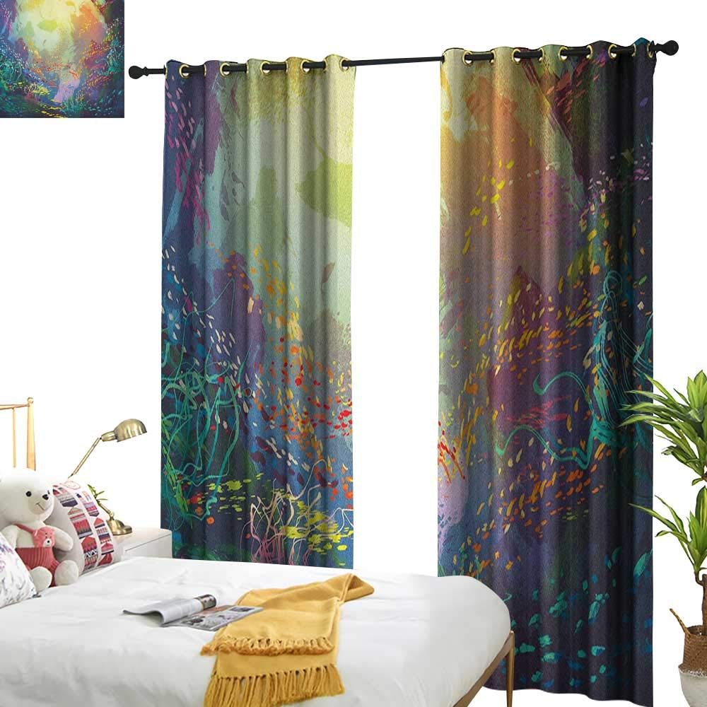 longbuyer Sea Animals Blackout Draperies for Bedroom Underwater with Coral Reef and Colorful Fish Aquarium Artistic Print W84 x L84,Suitable for Bedroom Living Room Study, etc. by longbuyer (Image #1)