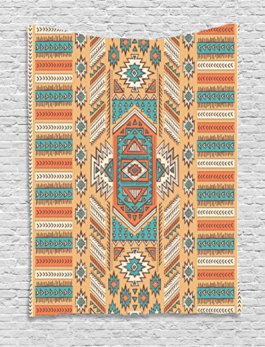 - Ambesonne Tribal Tapestry, Secret Tribe Pattern in Bohemian Style, Wall Hanging for Bedroom Living Room Dorm Decor, 40