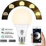 HAODENG WIFI スマート LED電球 電球色 AlexaとGoogle Homeで使用 玄関灯 非常灯 寝室照明 超省エネライト 色彩調節 調光 ワイヤレス APPコントロール 目覚め タイマー機能 E26口金 50W相当