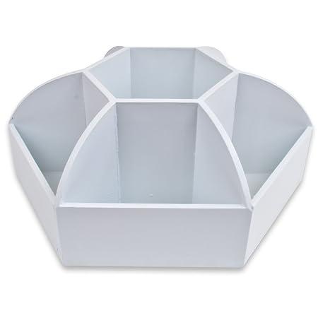 white revolving desk organiser in mdf wood rotating make up