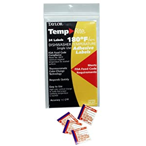 Taylor 8750 TempRite 180°F Dishwasher Test Labels - 24 / PK