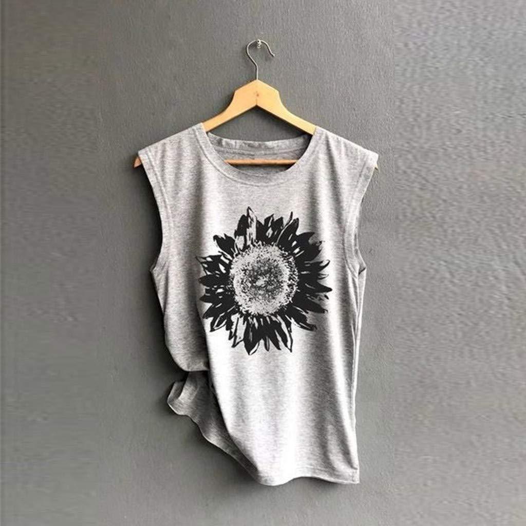 iHAZA Donna Senza Maniche Sunflower Stampa Camicia Casual Sciolto Canotta Soft Top Confortevole