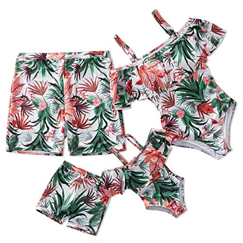 Yaffi Family Matching Swimwear One Piece Bathing Suit 2019 Newest Off Shoulder Floral Printed Ruffles Monokini Men: XL