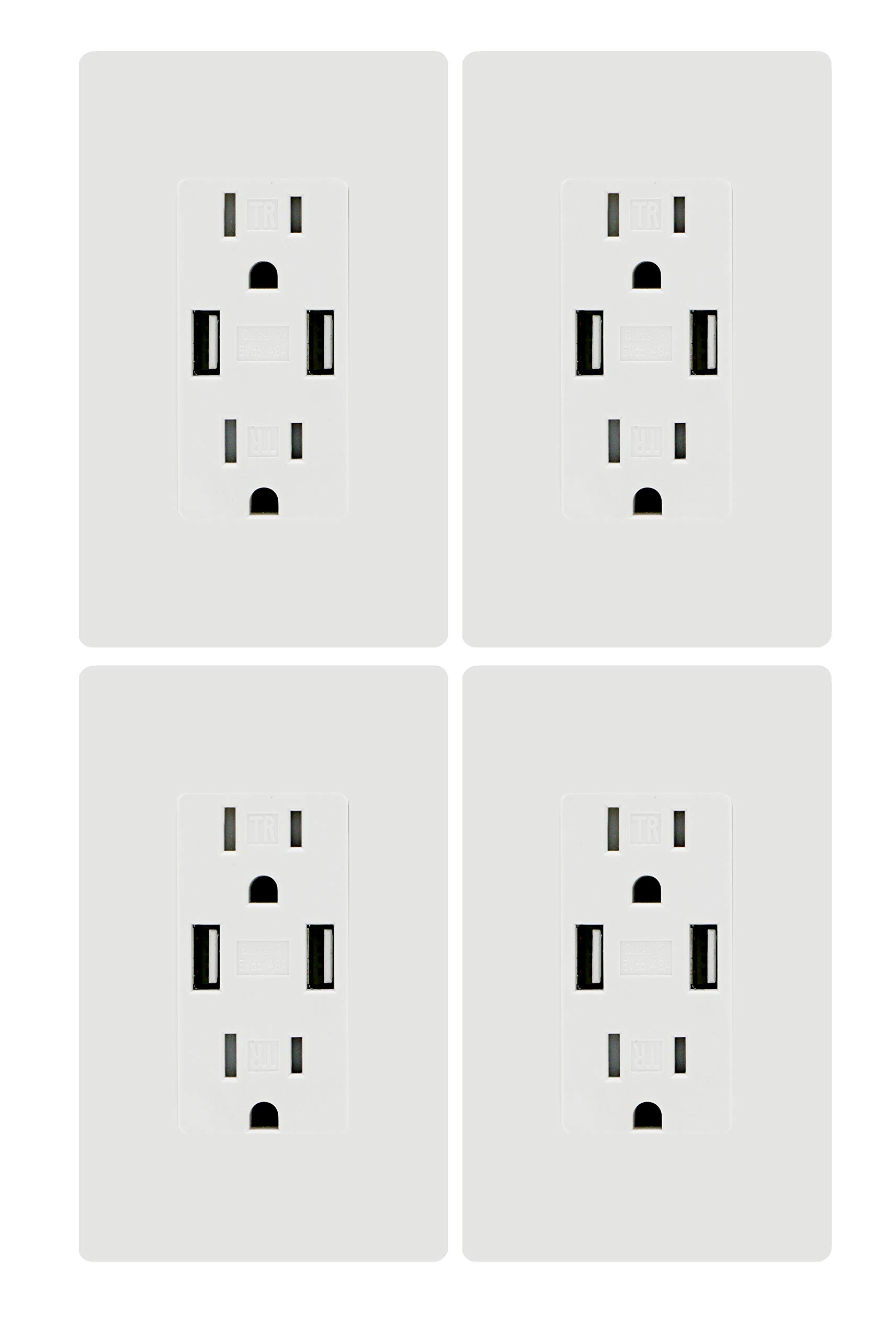 USB Charger Wall Outlet Dual High Speed Duplex Receptacle 15 Amp, Smart 4.8A Quick Charging Capability, Tamper Resistant Outlet Wall plate Included UL Listed White MICMI C48 (4.8A USB outlet 4pack)