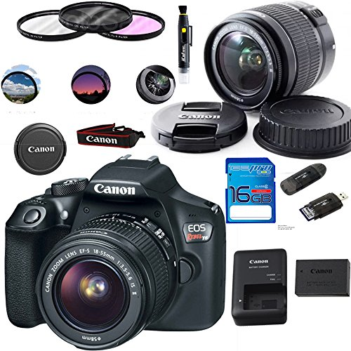 Cmos Set Camera - Canon EOS 1300D / T6 EF-S 18-55mm 18.7MP CMOS 5184 x 3456 Pixels (Black) + Deal-Expo Basic Accessories Bundle