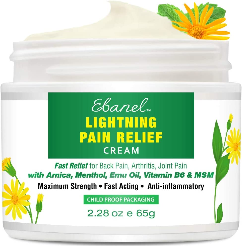 Pain Relief Cream with Arnica, Emu Oil, MSM, Menthol, Anti Inflammatory Cream with Camphor, Boswellia, Vitamin B6, Aloe, Fast Relief for Back Pain, Arthritis, Neck Shoulder Joint Muscle Pain, 2.28 Oz