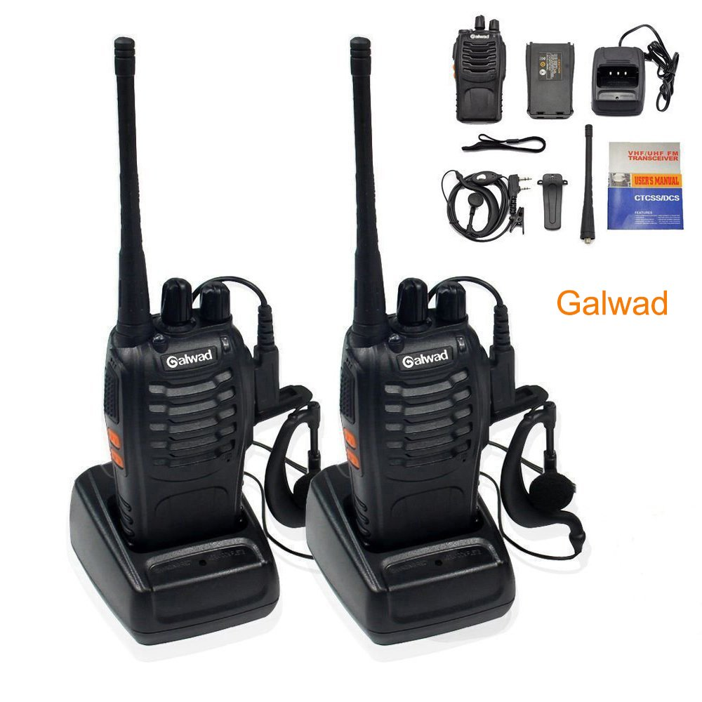 Walkie Talkie 16 Channels Long Range Two Way Radio 2pcs Radios Box Contain Two of Every Item (2 Radios,2 Rechargeable Batteries,2 Lanyards,2 Clips,2 Antennas,2 Chargers,2 Headphones,2 Manuals)