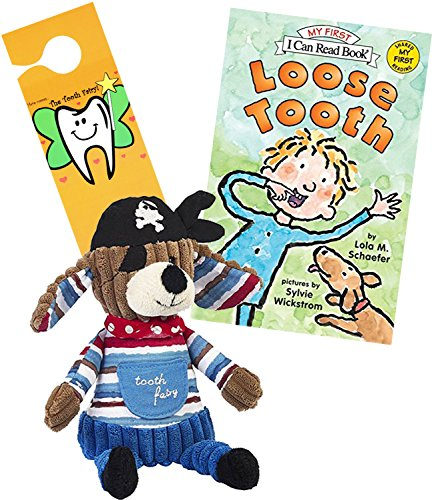 (Maison Chic Tooth Fairy Patch The Pirate Dog Plush Pillow w/n Loose Tooth by Lola Schaefer a Tooth Fairy Book Set with Door Hanger (Patch Pirate Dog / Loose Tooth))