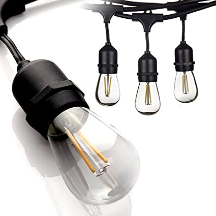 outdoor led patio lights waterproof outdoor 48 ft led outdoor string lights 15 hanging sockets perfect patio commercial amazoncom