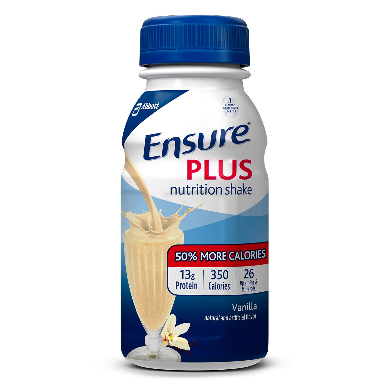 Ensure Plus Nutrition Shake with 13 grams of high-quality protein, Meal Replacement Shakes, Vanilla, 8 fl oz, 24 count by Ensure Plus