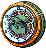 18'' Ducks Unlimited Orange Double Neon Lighted Wall Clock Chrome