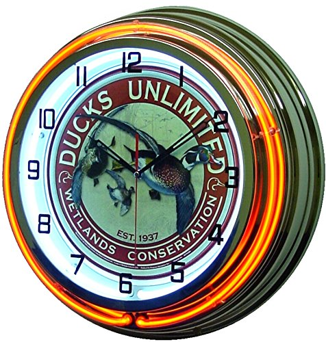 "18"" Ducks Unlimited Orange Double Neon Lighted Wall Clock Chrome"