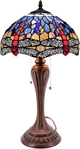 Tiffany Lamp Blue Stained Glass Crystal Bead Dragonfly Style Table Lighting W12H22 Inch S688 WERFACTORY Lamps Lover Friends Kids Parents Living Room Bedroom Coffee Bar Desk Antique Art Crafts Gift