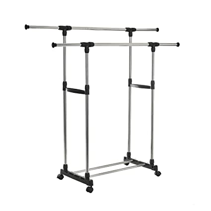 Amazon.com: HollyHOME Adjustable Garment Rack, Rolling Double Rail