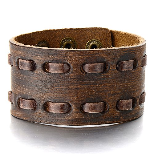 Mens Brown Leather Bracelet Genuine Leather Bangle Bracelet Wristband Interwoven - Design Stretch Bangle Bracelet
