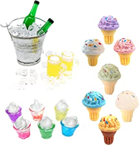 G0lden&Mang0 1:12 Dollhouse Kitchen Decoration Set, Miniature Ice Cream Iced Beer Ice Cube Bucket Food Drink Craft Sets DIY Micro Landscape Accessories for Kids Gift