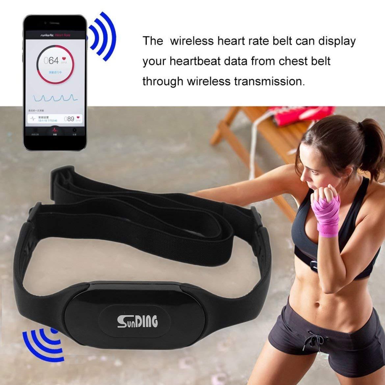 Impermeabile Bluetooth 4.0 Wireless cardiofrequenzimetro Wireless Heart Beat Belt Sport esegui calcoli calorici e grassi nero