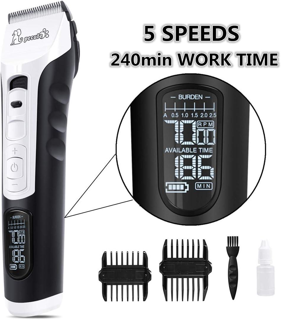 Cortapelos para Perro, Profesional Perros y Mascotas 4 Horas Uso Continuo, 5 Velocidades Ajustable Gatos Pantalla LED con Cable USB