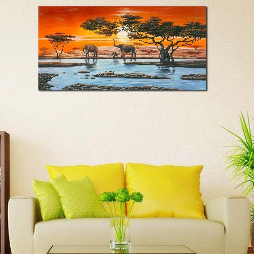 Amazon.com: Wieco Art - Elephant Family Giclee Canvas Prints Wall ...